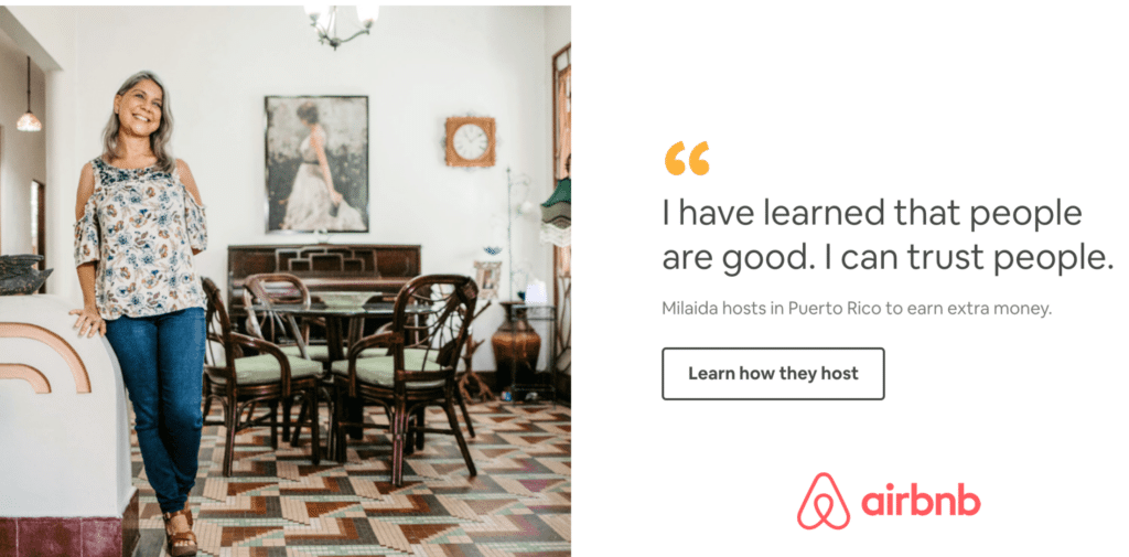 Airbnb uses Digital Psychology to reaffirm its safety so potential hosts know they can rely on the platform.